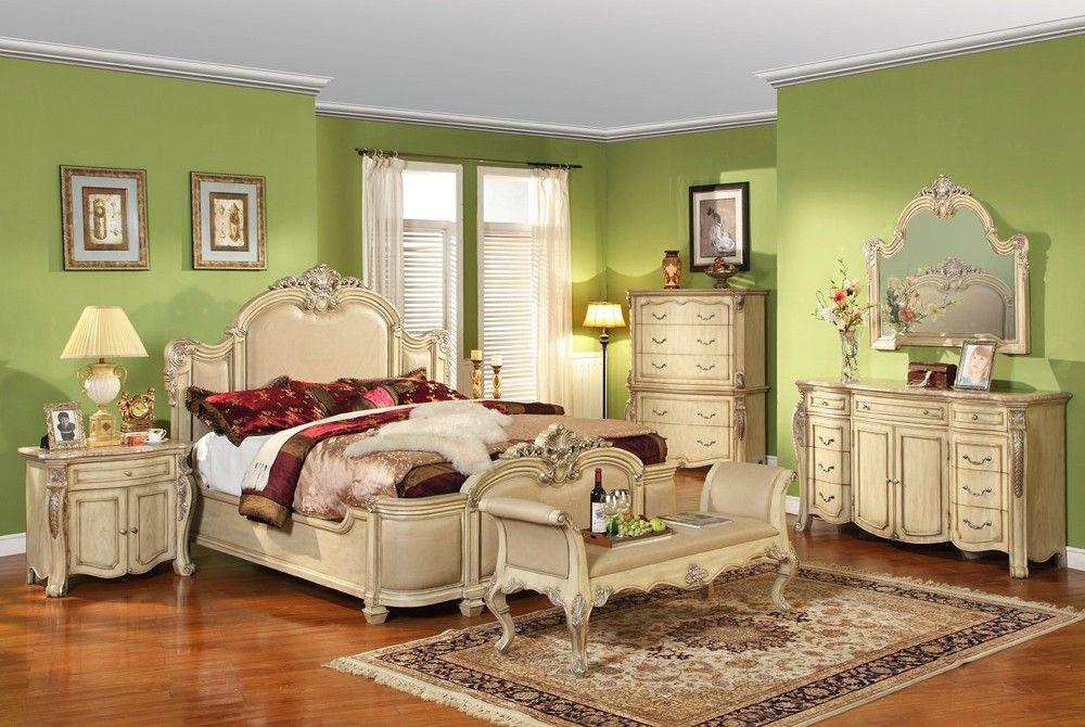 Antique Bedroom Furniture | Artemis Antique White Finish Bedroom - - Antique Bedroom Furniture Artemis Antique White Finish Bedroom