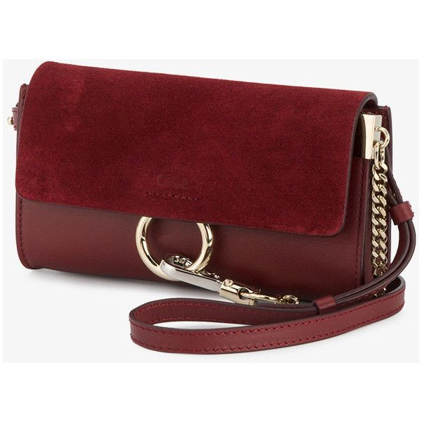 Chloé Plum Purple Faye Chain Wallet Bag ($795) ❤ liked on Polyvore featuring bags, wallets, purple leather wallet, red bag, leather chain wallet, purple wallet and genuine leather wallet