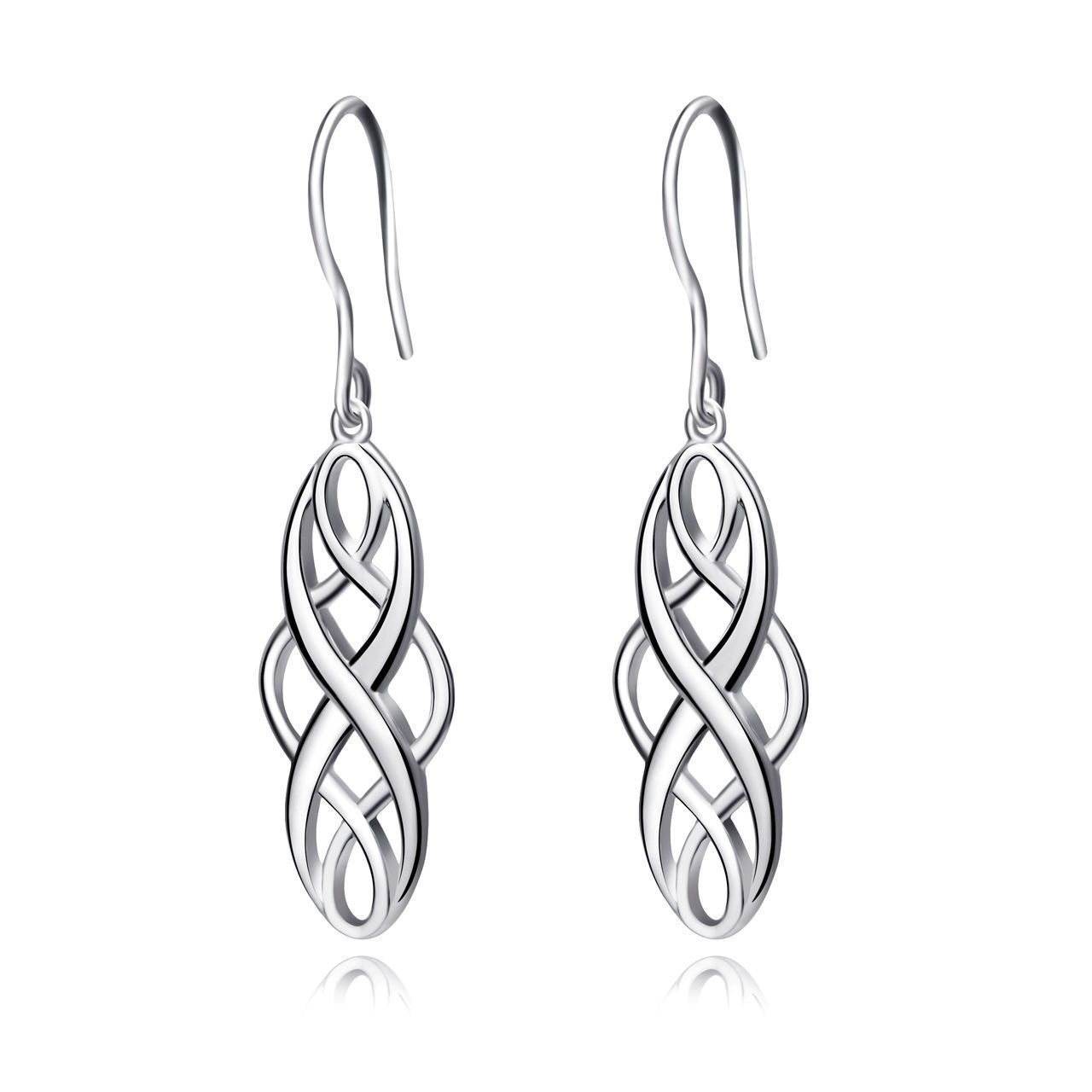 White Gold over Sterling Silver Celtic Knot Oval Drop Dangle Wire ...