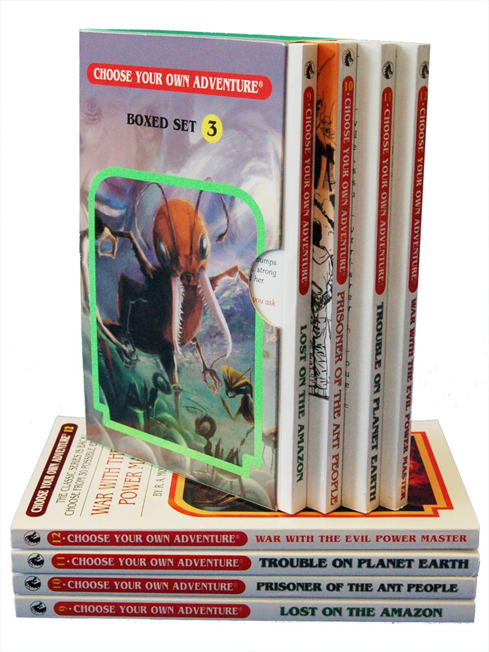 "4 Book Box Set #3 includes ""Prisoner of the Ant People,"" ""Lost on the Amazon,"" ""Trouble on Planet Earth,"" and ""War with the Evil Power Master."""