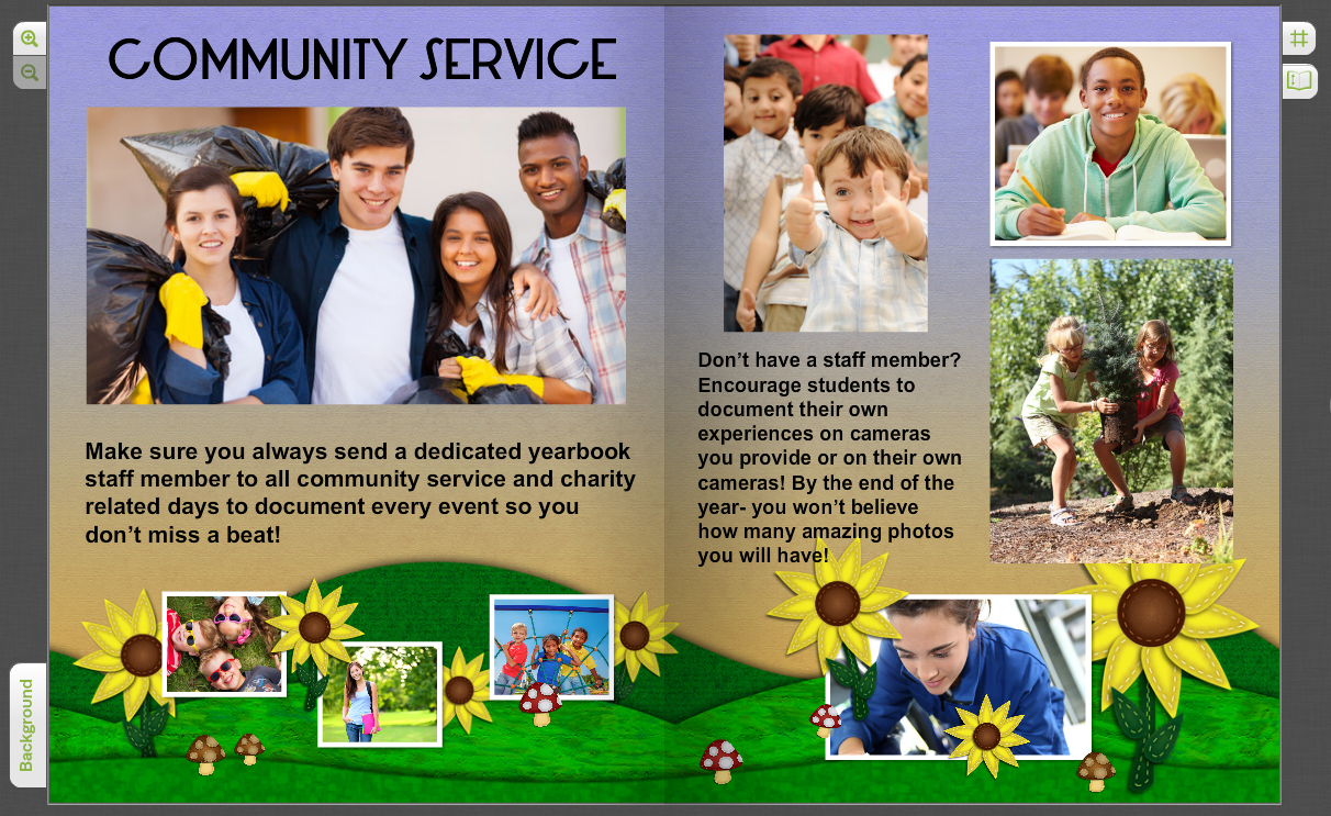 giving back use your yearbook to showcase community service - Yearbook Design Ideas