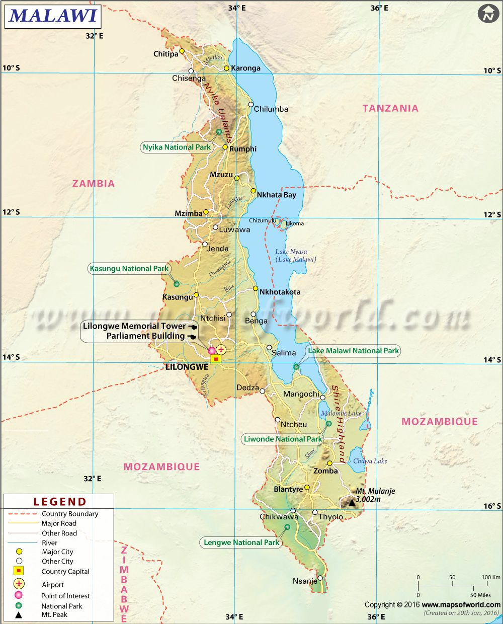 Carte Dengue Sri Lanka.Malawi Map Informational Map In 2019 Map Africa Map Africa