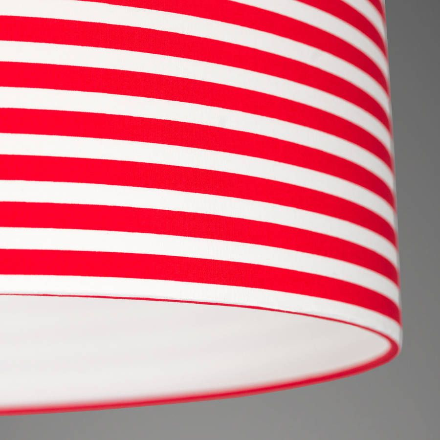 Pick And Mix Stripe Lampshade With Red White Fabric Lining