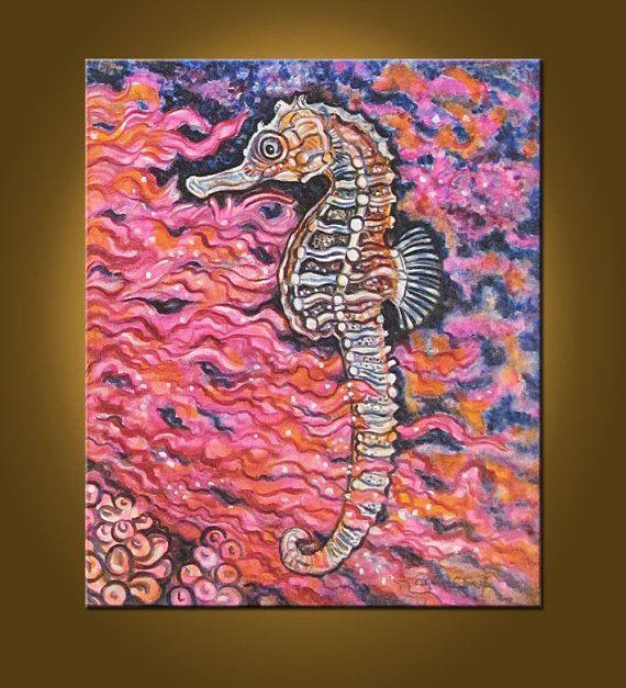 My Seahorse  20 x 24 inch Original Painting by by ElizabethGraf, $159.00