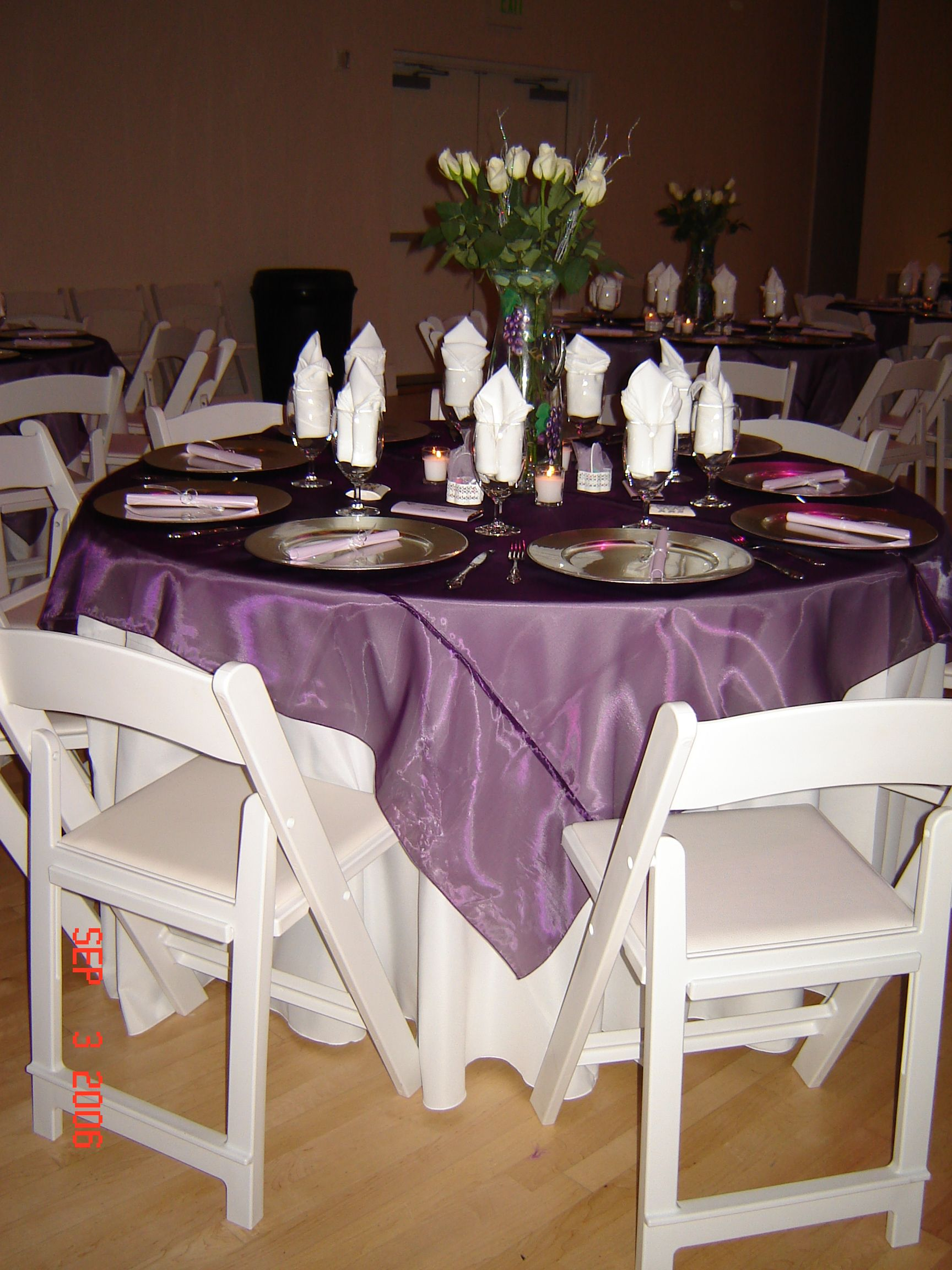 Purple Organza Overlays Simply Elegant Weddings Linen Rentals Fort Worth Dallas Nationwide Wedding Linen Rental Linen Rentals Wedding Linens