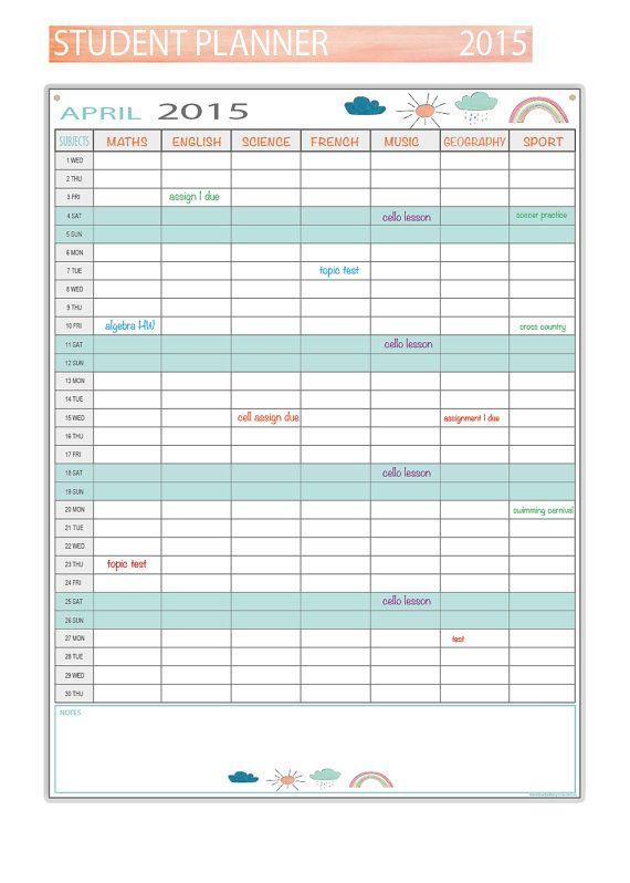 cute 2015 student planner - aqua  u0026 white - printable