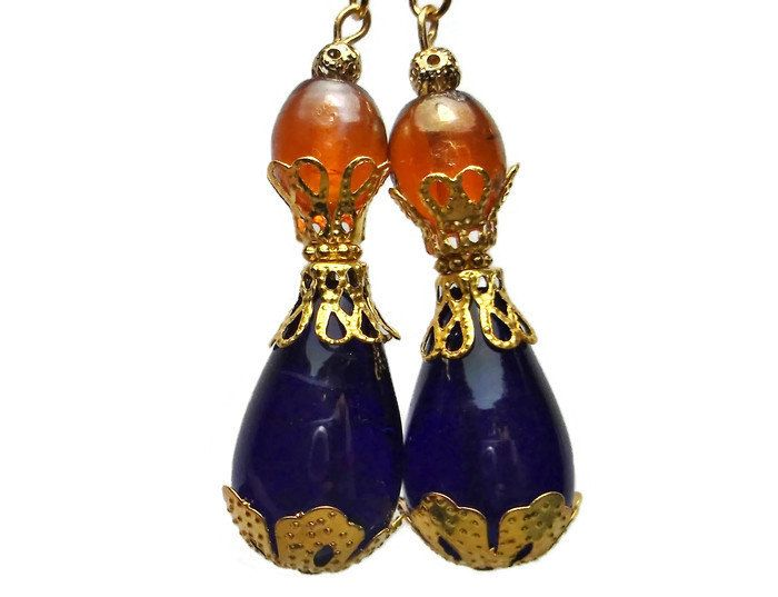 Morroccan flair Cobalt blue and andber earrings, gold filigree cobalt bohemian earrings by KittyBritchesBoutiqu on Etsy