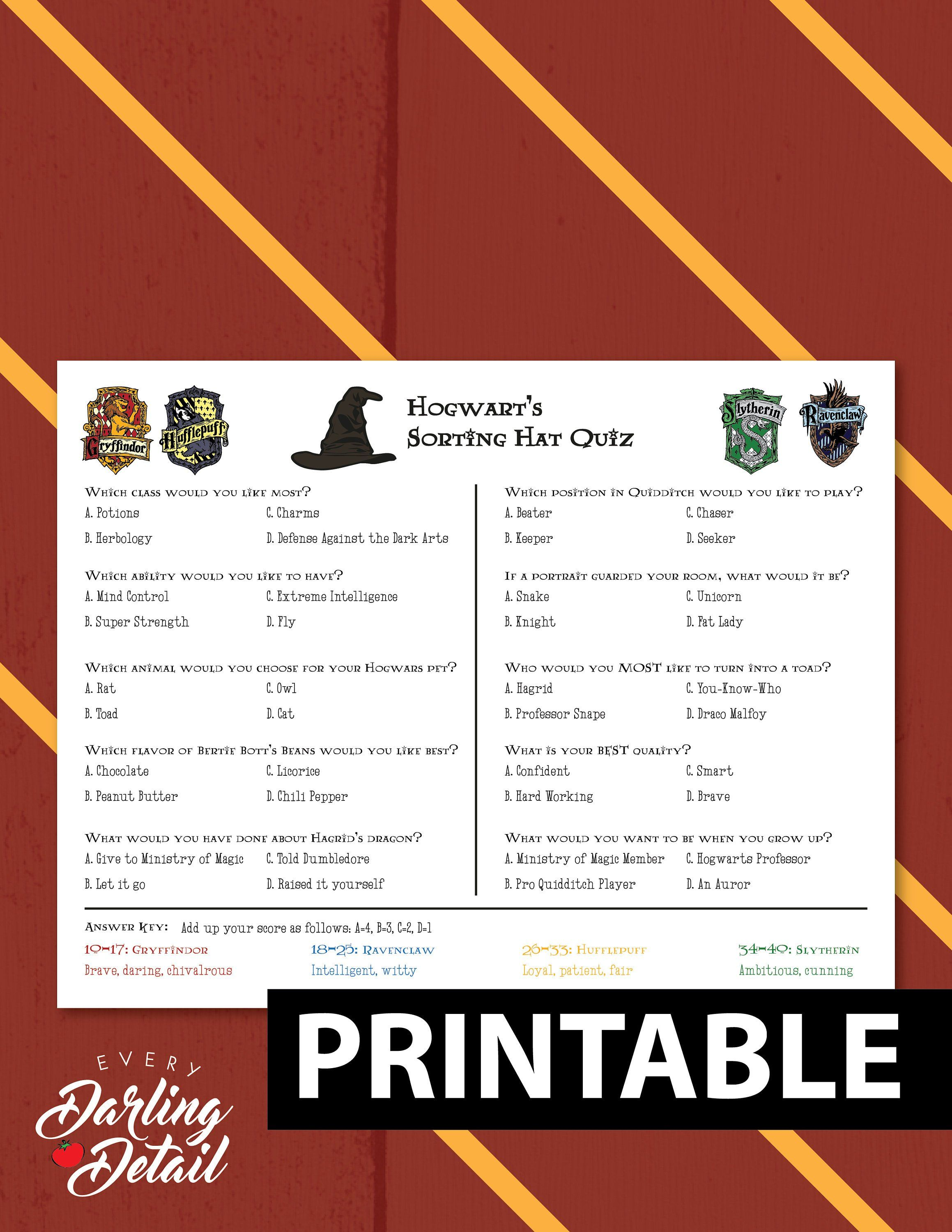 photo about Printable Sorting Hat Quiz named Wizard Sorting Hat Quiz Printable Get together Sport Choose Etsy
