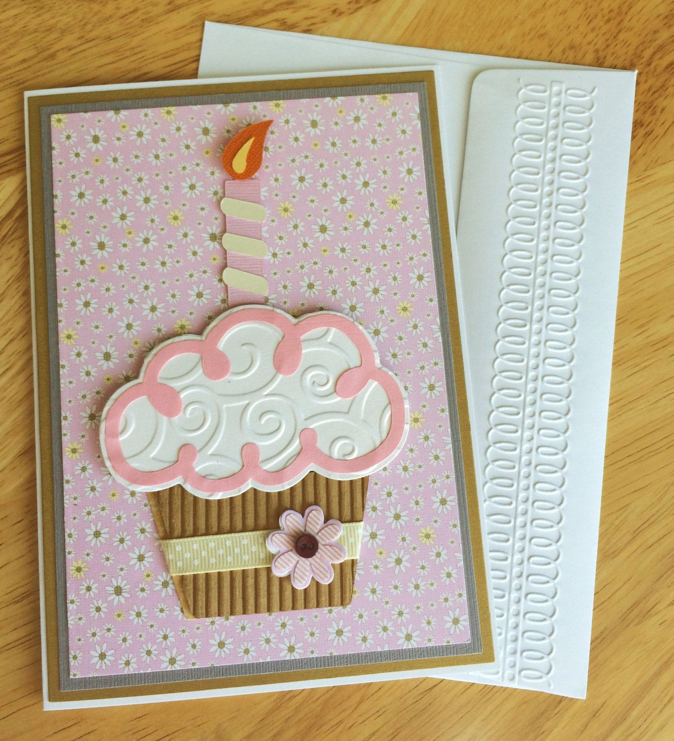 3D Cupcake Handmade Birthday Card 1 2 3 4 5 6 Year Old Girl Feminine With And Candle Pink Gray By