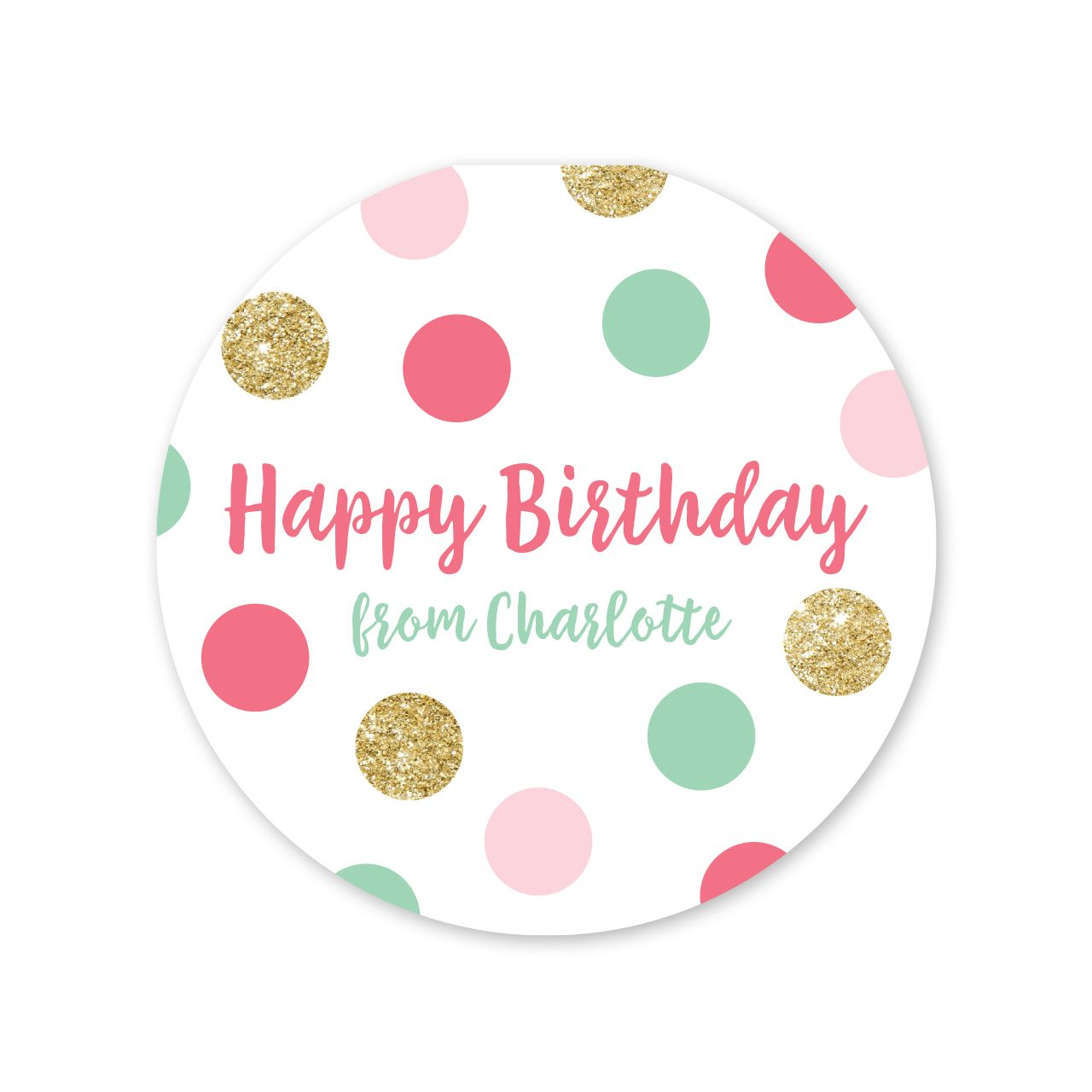 Party Dots Faux Glitter Personalized Birthday Gift Stickers L Peony Hill Press
