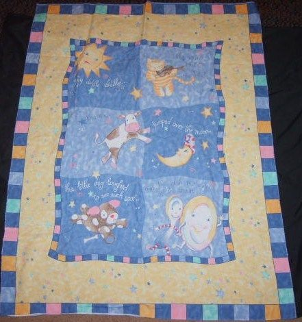 Darling Nursery Rhyme Fabric Panel Crib Quilt | Fabric panels ... : nursery quilt fabric - Adamdwight.com