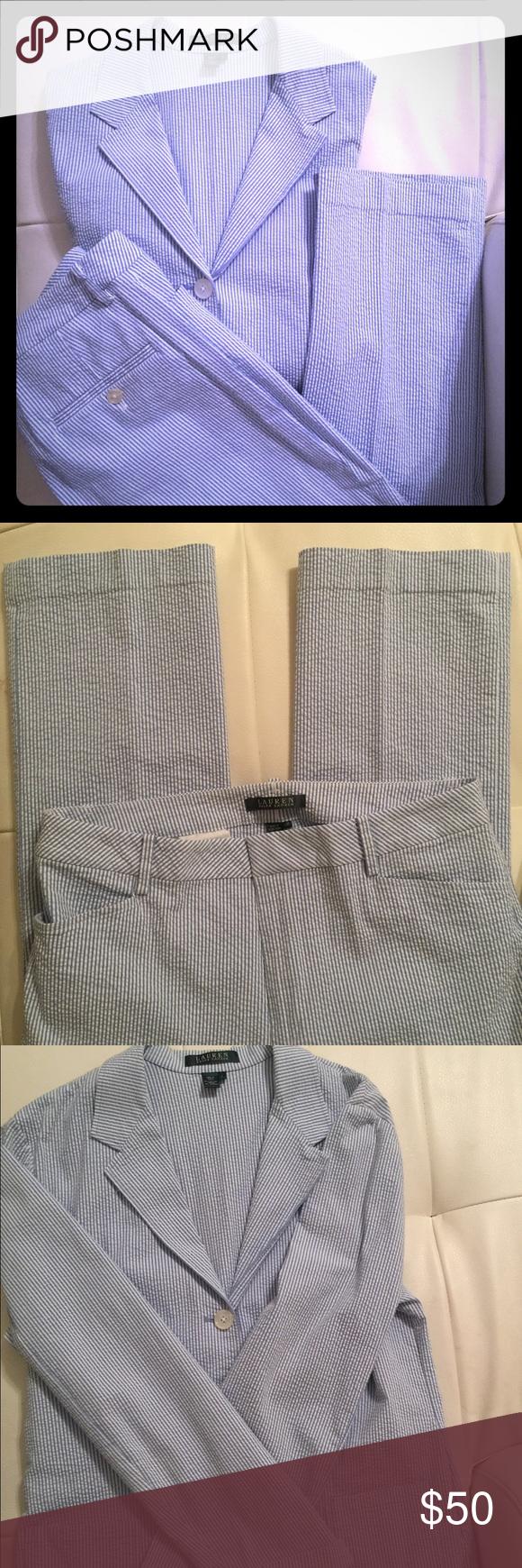 Ralph Lauren seersucker women's pant suit. Sz L Pants Sz 12. 29inch inseam 8 1/2 inch foot hole. Blazer Sz Large. Ralph Lauren Other