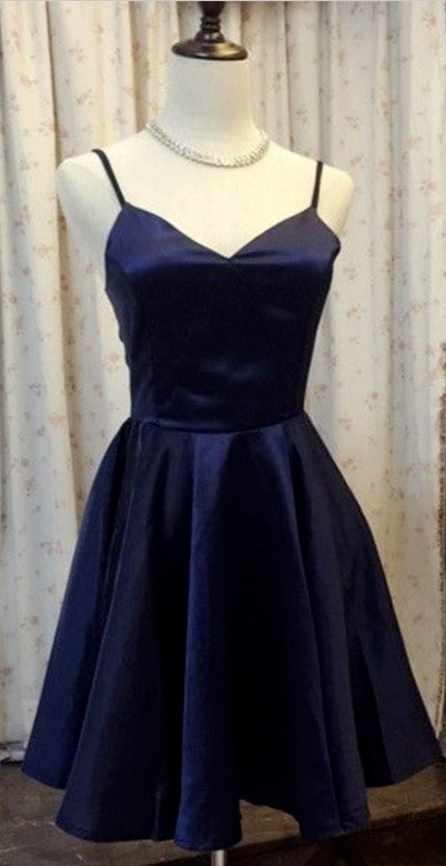 Women's V-Neck Homecoming Dresses,Navy Blue Satin Prom Gowns Short