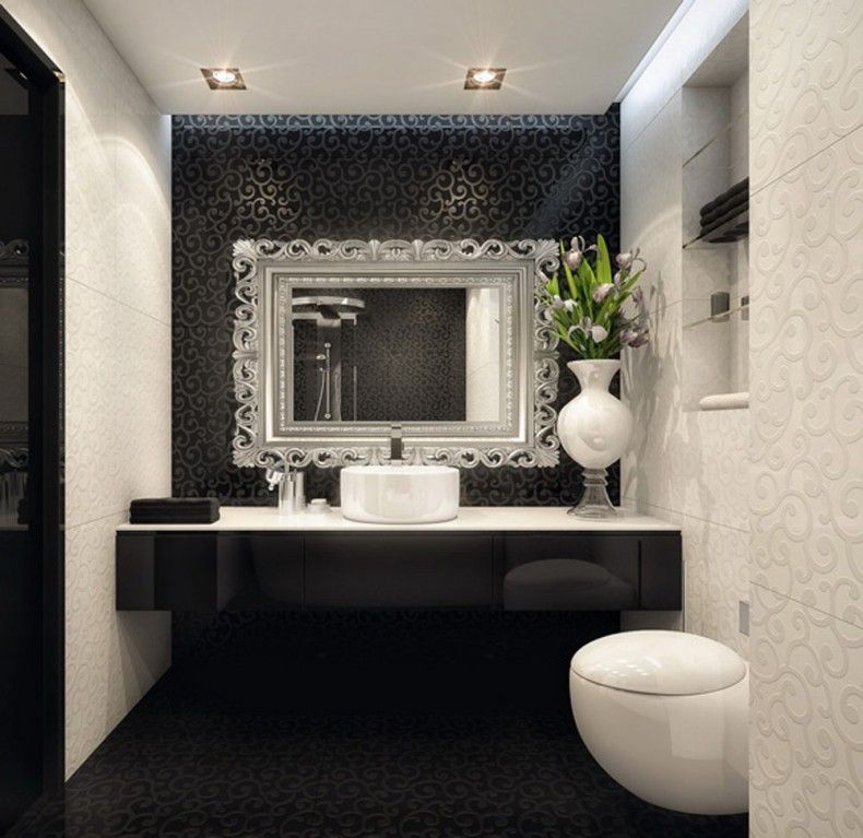 White bathroom with black accent wall bathroom for Bathroom accent ideas