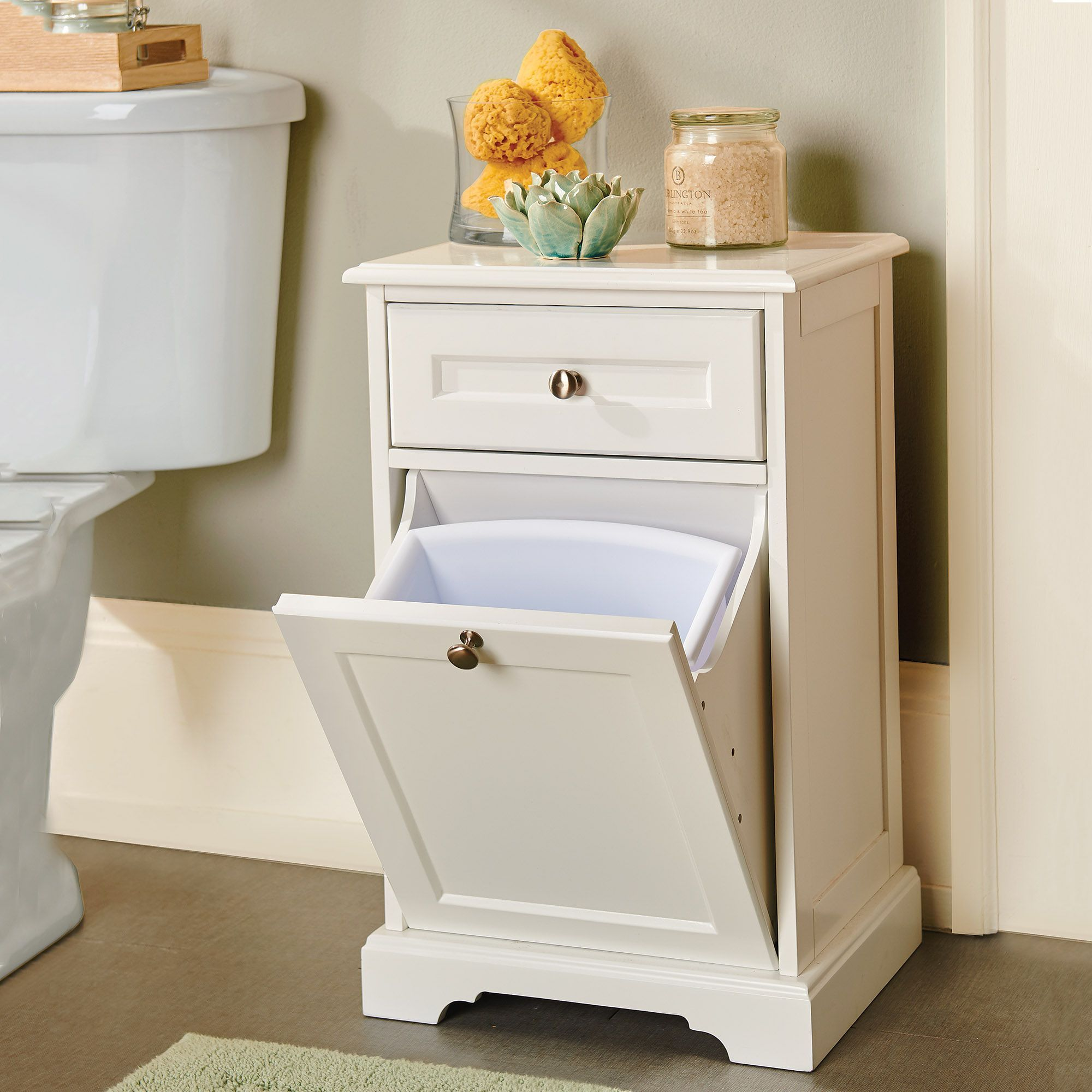 Weatherby Trash Can Cabinet With Drawer Trash Can Cabinet Bathroom Trash Can Storage Cabinet With Drawers