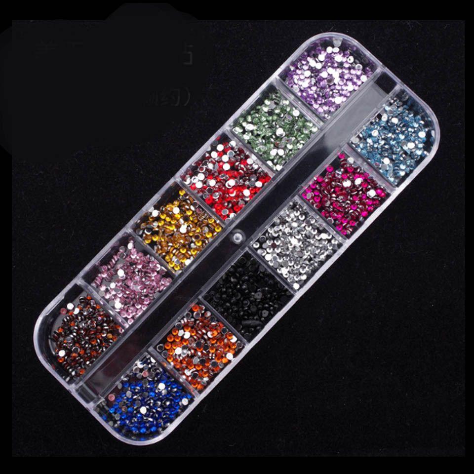 12 Color Mix Rhinestones for Nails Design 2mm 3D Nail Art