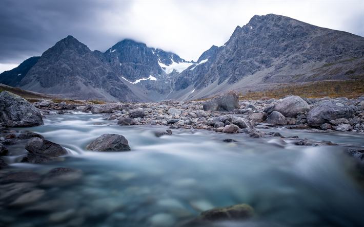 Download Wallpapers Mountain River Mountain Landscape Stones Norway Lyngen Besthqwallpapers Com Paysage Paysage Montagne Fond Ecran Paysage