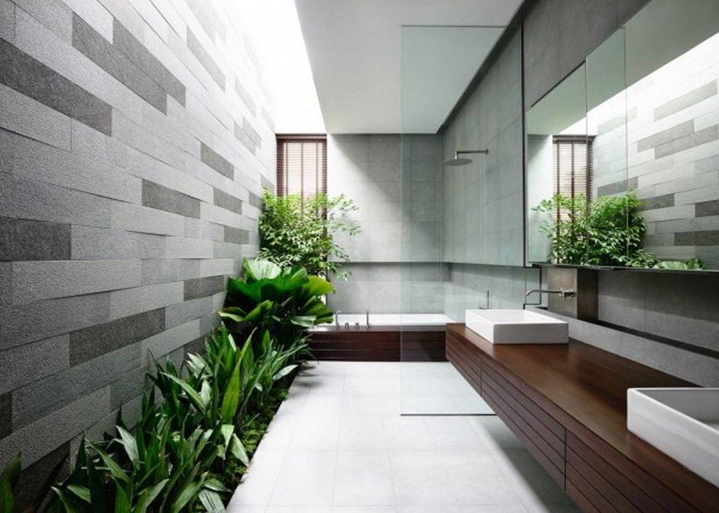 Fresh Bathroom Design With Skylight And Indoor Garden Idea Feat