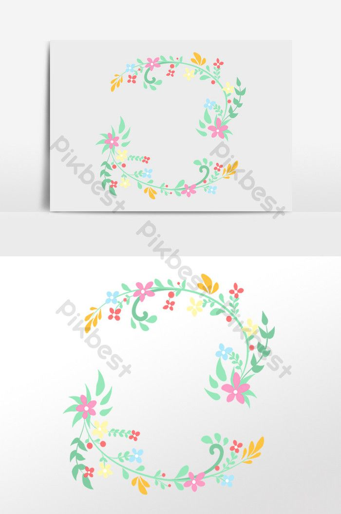 Photo of Hand drawn fresh plant flower twig wreath illustration | Graphic elements PSD free download – spades