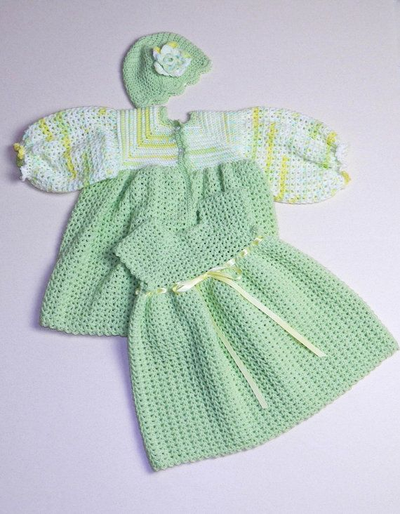 Crocheted Baby Jacket, Dress & Hat in Mint Green - Ready to Ship ...
