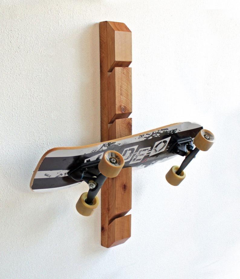 Wooden Skateboard Rack Wall Mounted Holder Organizer Etsy In 2020 Skateboard Rack Skateboard Display Skateboard Room