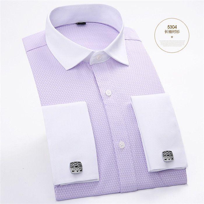 Men's Top Quality French Cufflinks Shirts Long Sleeve Business Slim Fit Social Dress Shirts Black White Yellow Pink Men Clothing