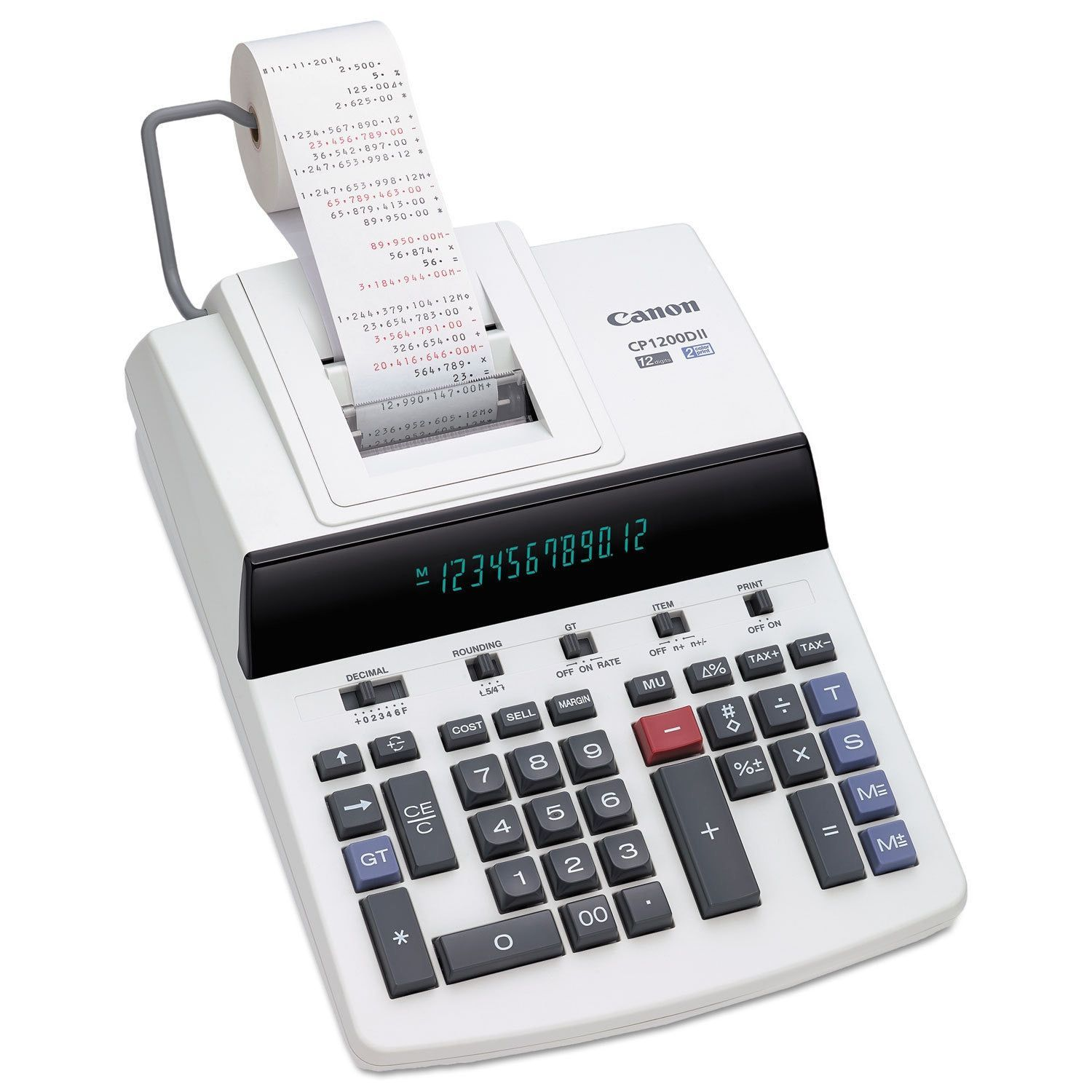 Black//Red 12-Digit Fluorescent VX2652H Two-Color Printing Calculator