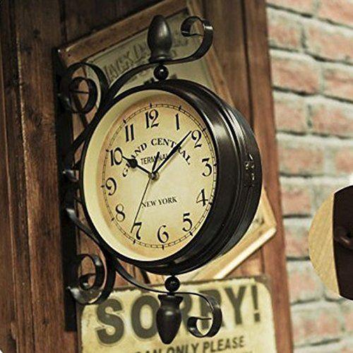 Ustide Doublesided Clock European Retro Nostalgic Wall Hanging ...