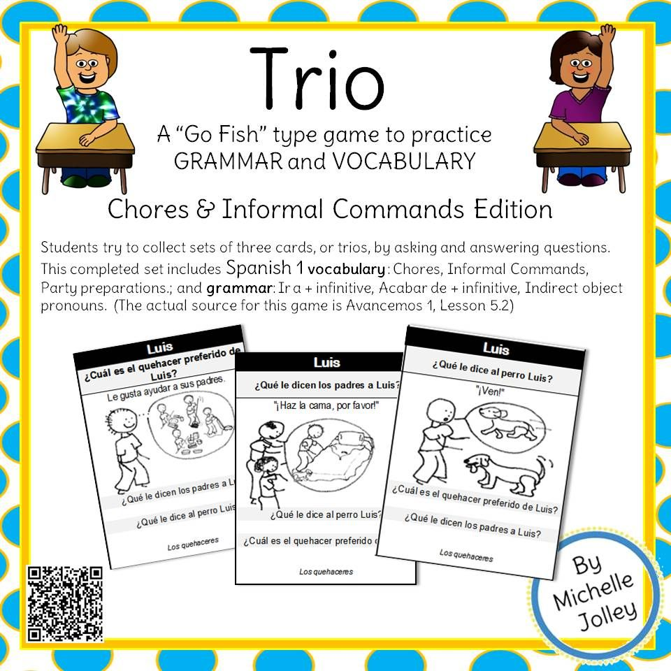 worksheet Acabar De Worksheet spanish commands chores ir a inf acabar de trio card game