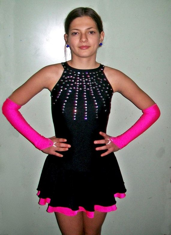 Black and fuchsia pink figure skating dress with gloves - Guantes de hielo ...