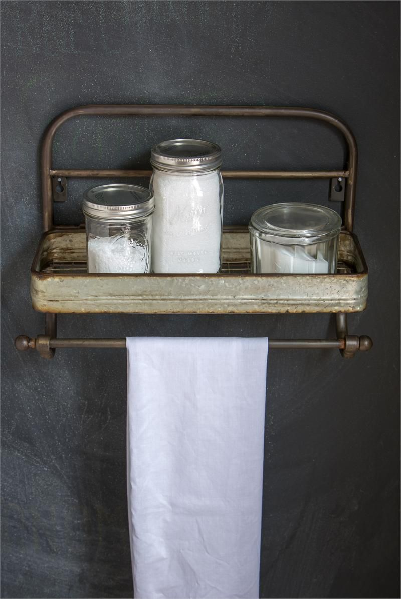 Farmhouse metal shelf and towel rack vintage style metal for Vintage bathroom accessories
