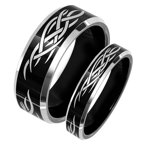 His And Hers Black Tribal Matching Tungsten Wedding Band Set