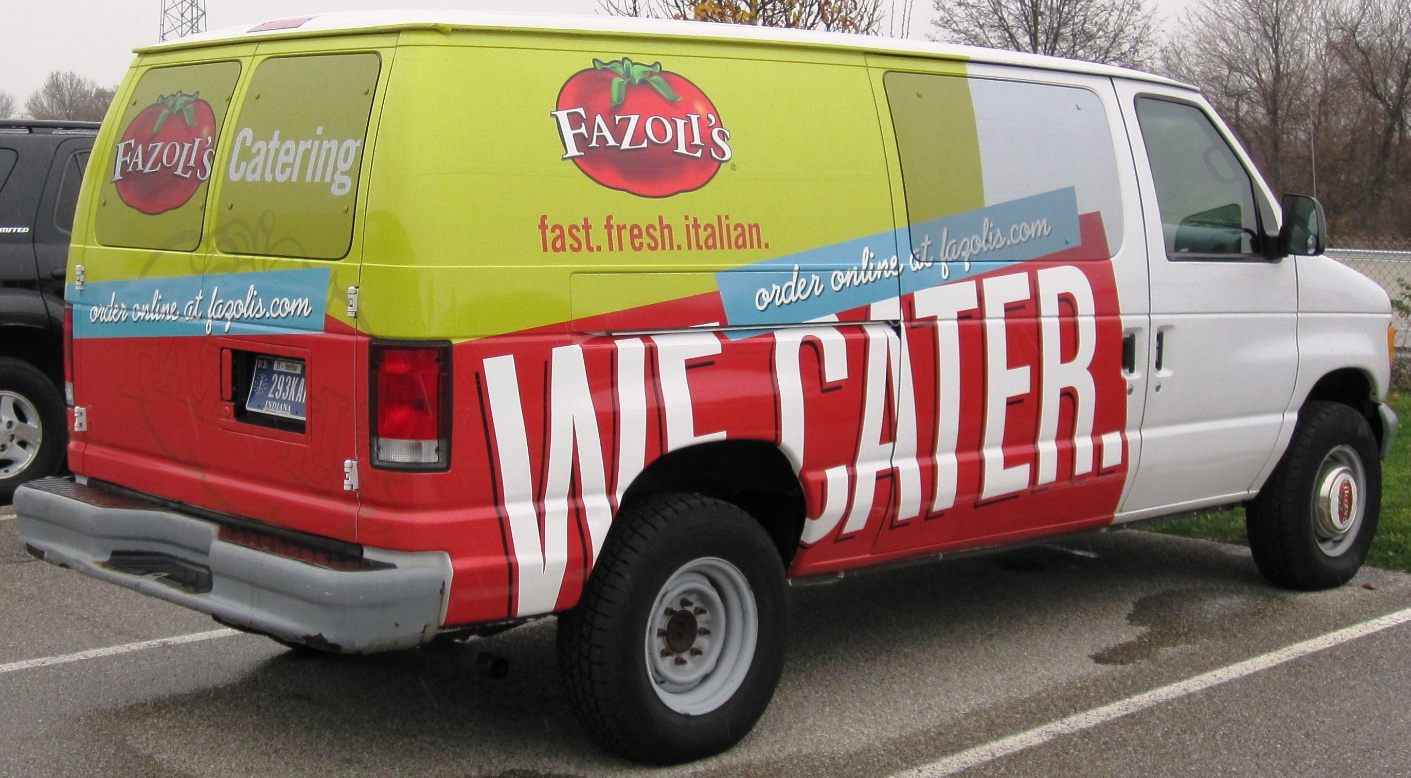 Fazolis catering van graphics van wrap van decals partial