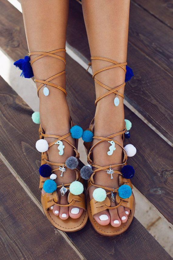 615dd4c1d3752 leather tie up pompom sandals Santorini | Shoes | Pom pom sandals ...