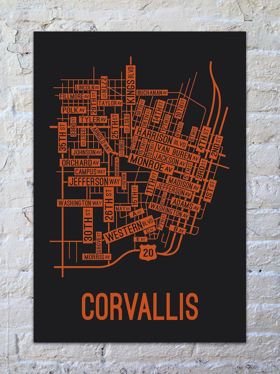 Corvallis Oregon Street Map Pin by Briana Novak on For the Home   Corvallis oregon, Oregon map