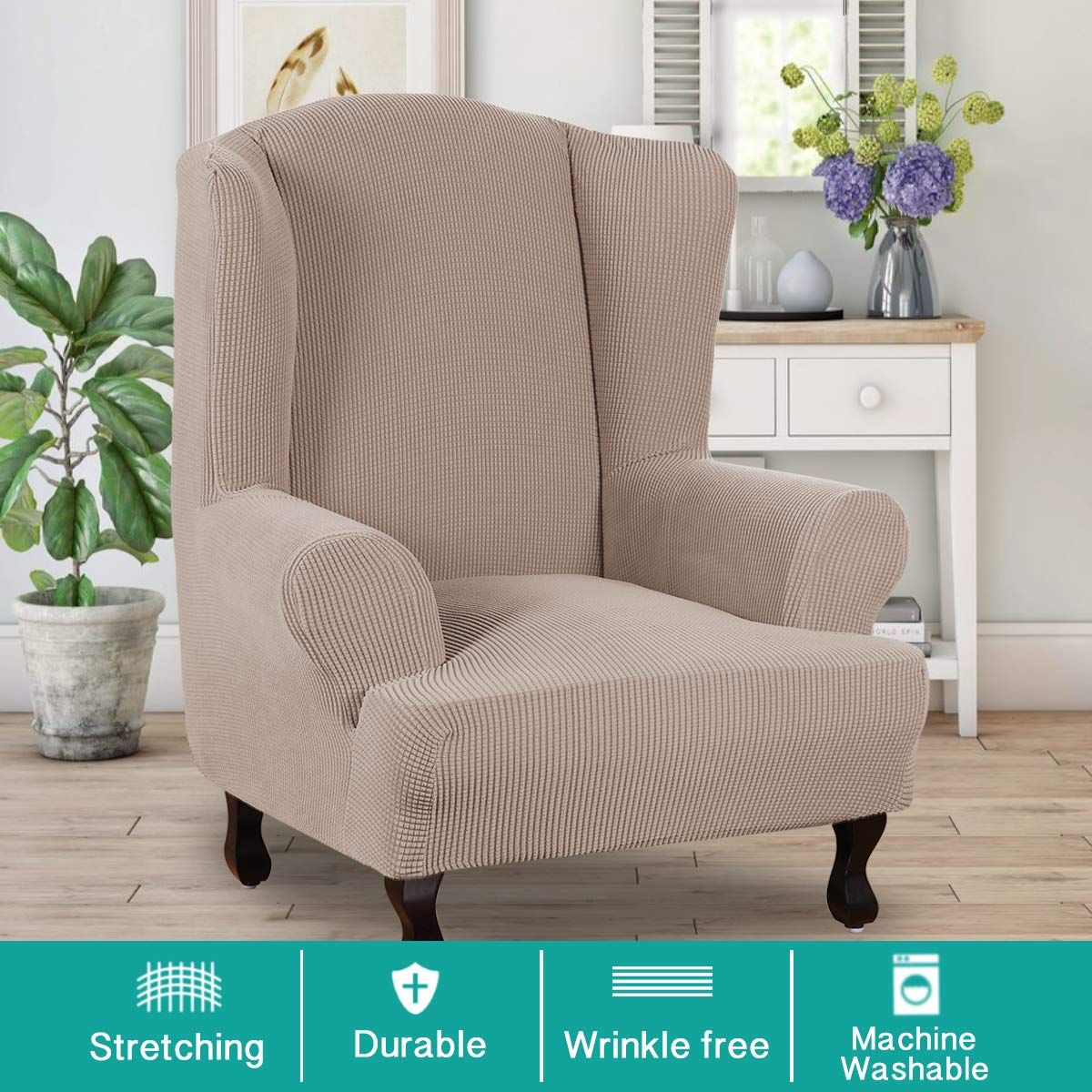 Turquoize Stretch Wing Chair Slipcover