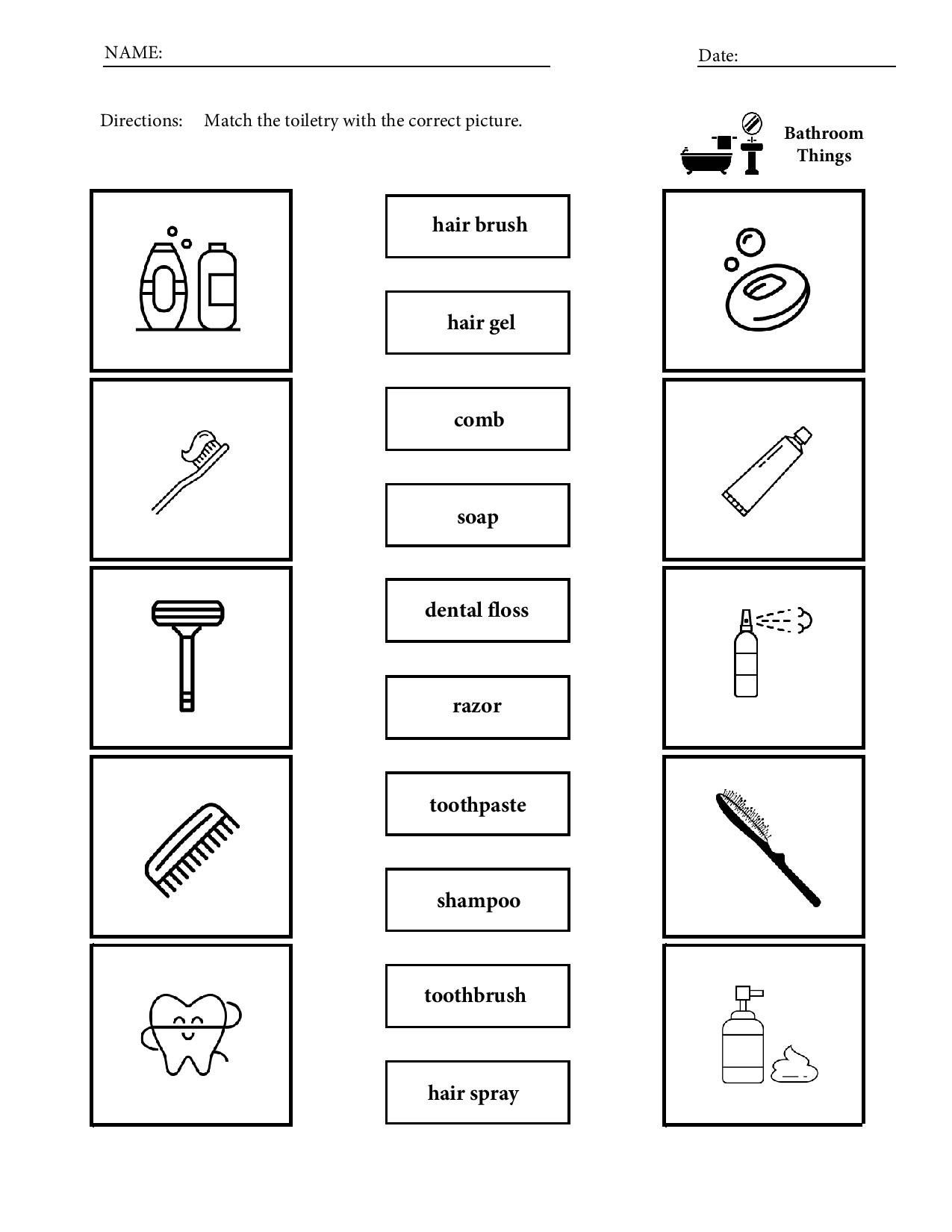 Bathroom Things Toiletries Vocabulary Worksheets For Children Match Draw Writ Kindergarten Worksheets Kindergarten Worksheets Printable Vocabulary Worksheets [ 1650 x 1275 Pixel ]
