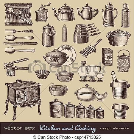 Kitchen And Cooking Design Elements Csp14713325 Vintage Drawings