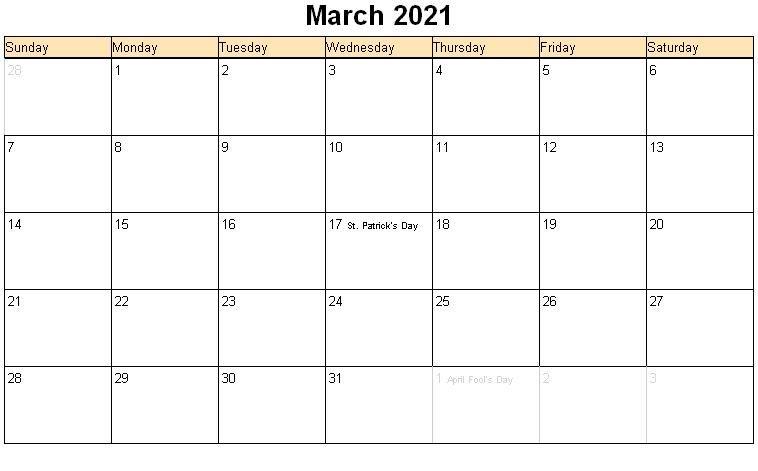 March Calendar 2021 Calendar Template Printable Calendar Word Monthly Calendar