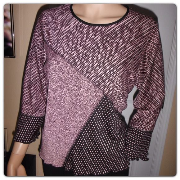 Nice top Cute pink and black top. notations Tops