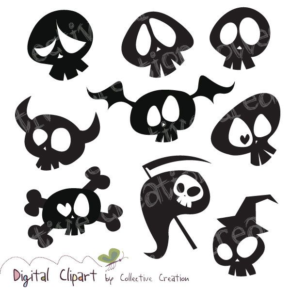 Skull cute. Cartoon silhouette clipart by