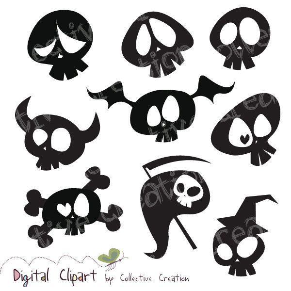 Cute Cartoon Skull Silhouette Clipart Digital Clip Art ...