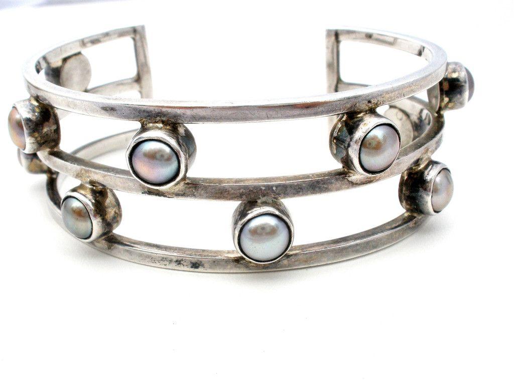 Sheri liebert sterling silver black pearl cuff bracelet vintage