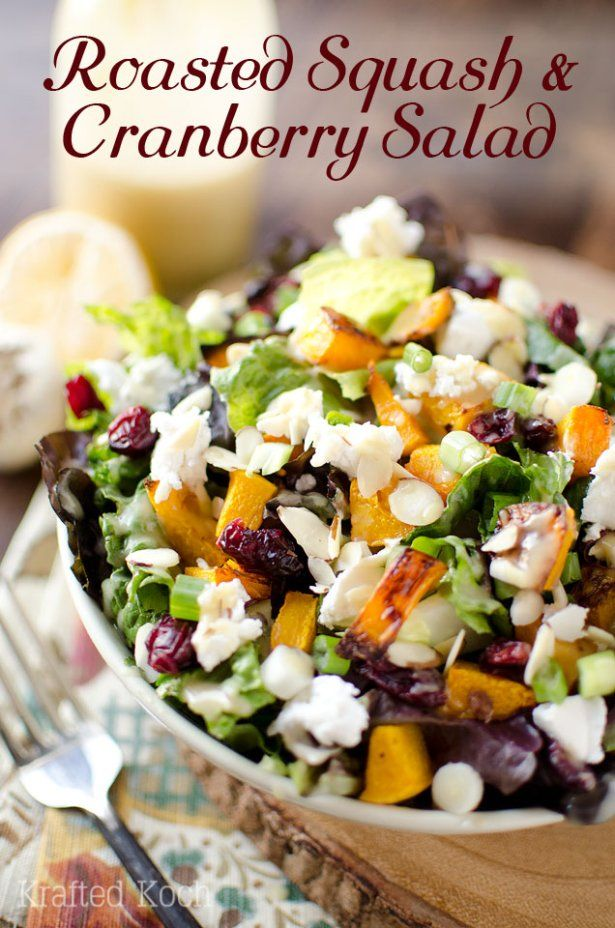 Roasted Squash & Cranberry Salad with Almonds, Goat Cheese and a Roasted Garlic & Lemon Dressing