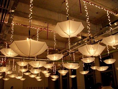 Upside Down Umbrellas With Lighting Inside Cafe Style