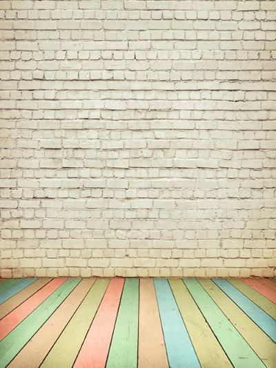 kate white brick backdrop colored wood floor for photography b