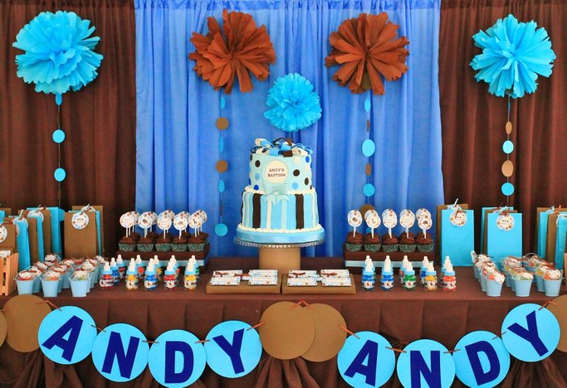 Blue And Brown Dessert And Candy Buffet Table Jerez