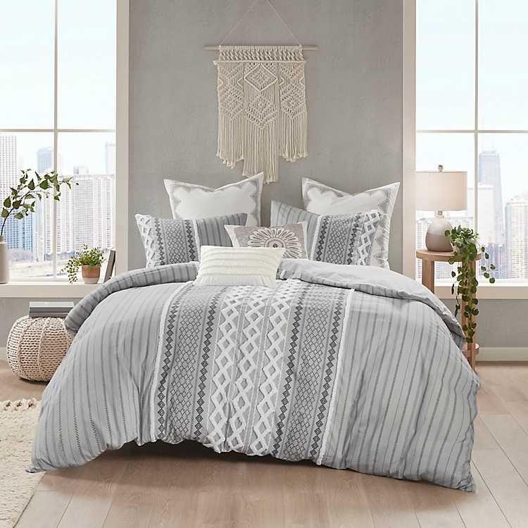Gray Chenille Tufted California King Comforter Set From Kirkland S In 2021 Comforter Sets Grey Comforter Sets California King Duvet Cover