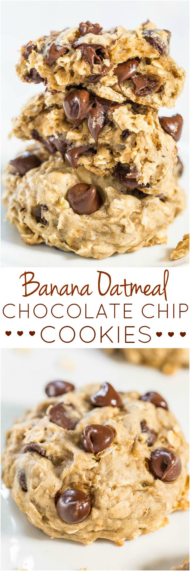 Banana Oatmeal Chocolate Chip Cookies - Only 1/4 cup butter used! Like oatmeal cookies but with banana to keep them healthier! So soft, chewy, and you'll never miss the butter!!