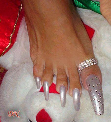 Silver Long Toe Nails